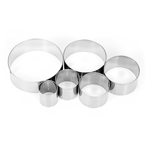 XYBAGS 6PCS Large Round Cookie Cutter Set, 2 1/5 Inch to 5 3/8 Inch, Metal Circle Biscuit Pastry Cutters (6 Inch Dough Cutter)