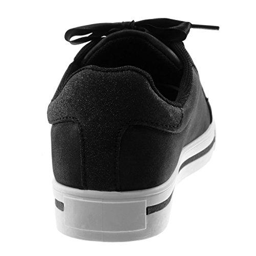 Tennis Moda in Lacci Chic Scarpe Sporty Piatto Nero Tacco Tacco Raso Sneaker Paillette 3 cm Stella Donna Angkorly 5tq8wCC