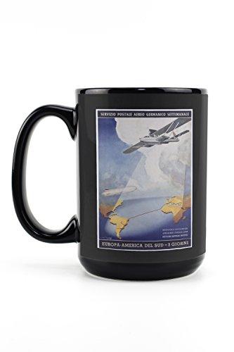Deutsche Lufthansa Servizio Postale Aereo (artist: Axster Heiestafs) Vintage Advertisement (15oz Black Ceramic Mug - Dishwasher and Microwave Safe)