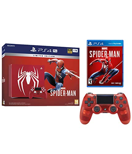 Playstation 4 Pro Marvel's Spider-Man Limited Edition Amazing Red 1TB Console with Extra Crystal Red Dualshock Wireless Controller