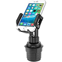 "Car Cup Holder Mount, Adjustable Smart Phone Cradle for iPhone X/8/8 Plus, iPods, Samsung Galaxy S8/ S8 Plus Note 8, MP3 Players, GPS Systems - Fits Mobile Devices Up To Widths Of 3.5""- by Cellet"