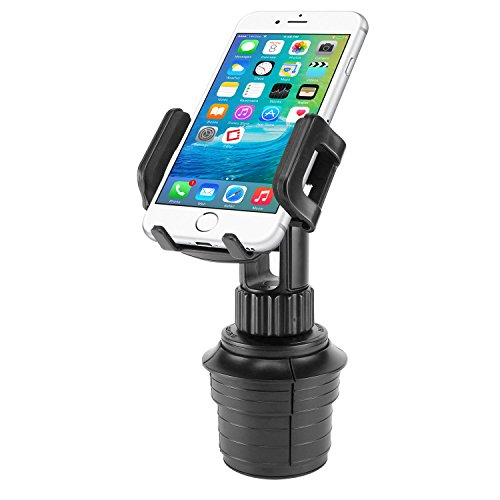 Car Cup Holder Mount, Adjustable Smart Phone Cradle for iPhone X/8/8 Plus, iPods, Samsung Galaxy S8/S8 Plus Note 8, MP3 Players, GPS Systems - Fits Mobile Devices Up To Widths Of 3.5- by Cellet