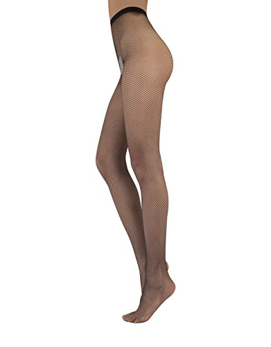 FISHNET TIGHTS WITH BACK SEAM | SEAMED FISHNET PANTYHOSE | NERO | S, M/L | ITALIAN HOSIERY | -