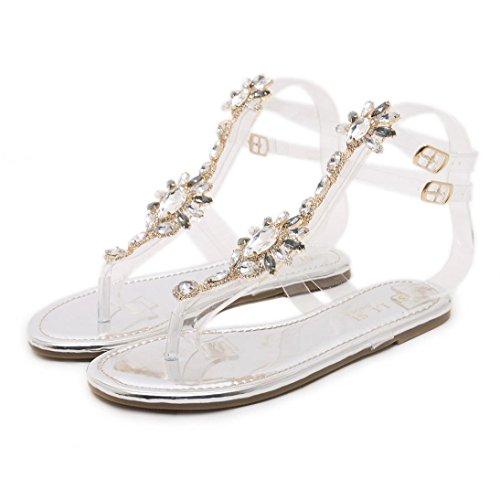 WYXlink Womens Sandals, Women Flip Flops Beach Sandals Fashion Bling Slippers Summer Women Flat Silver