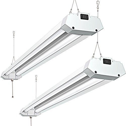 Linkable 40W 4FT Utility LED Shop Light, Pull Chain Hanging Double Light Fixture 4800 Lumens 5000K Daylight, with Ferrum Housing Indoor Illumination for Garage Warehouse Workbench Pack of 2 by addlon
