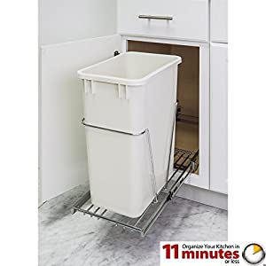 One 35-quart Single Pullout Waste Container System (Polished Chrome)