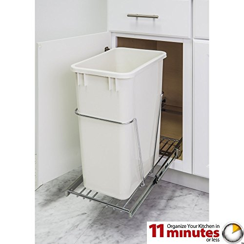 (One 50-quart Single Pullout Waste Container System (Polished Chrome) )