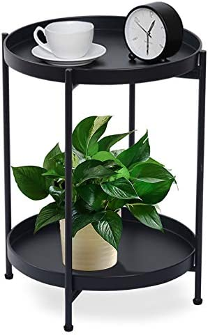 FUNME Black Folding End Table 2-Tier Metal Round Side Table
