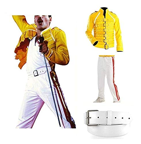 NM Fashions Men's Freddie Mercury Yellow Wembley Hi-Quality Faux Leather Costume Jacket