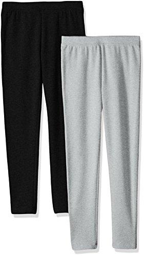Amazon Essentials Little Girls' 2-Pack Cozy Leggings, Black/Heather Grey, Small