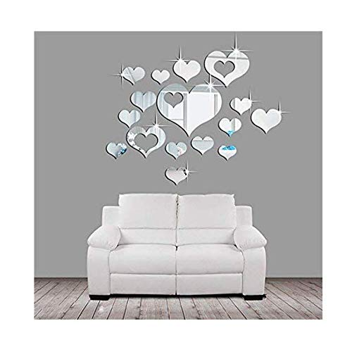 Ikevan 1Set 15pcs 3D Acrylic Heartshaped Mirror Wall Stickers Plastic Removable Heart Art Decor Wall Poster Living Room Home DecorationMultisizeSilverSmal