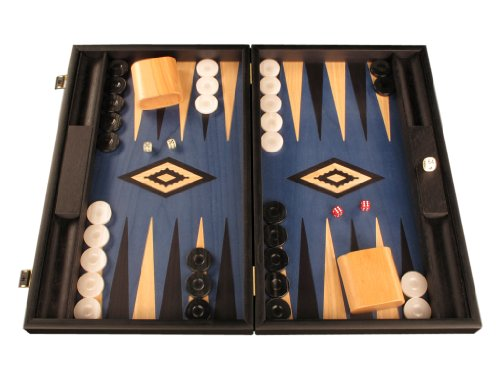 Wooden Backgammon Set - Board Game - Large, Black / (Checker Set Walnut Game Box)