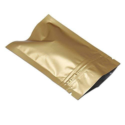 Foil Matte - 3.9x5.9 inch 50 Pcs Matte Aluminum Foil Zipper Ziplock Bag Retail Food Snack Coffee Storage Waterproof Zip Lock Mylar Packaging Bags Colors Smell Proof Resealable Package (Gold(3.93mil))