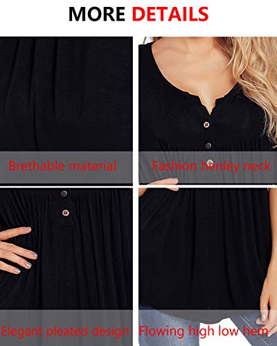 Black Tops Womens Front Tops Pleated Sleeve Tunic Shirts Henley Long Button V Neck gwgAHRBxq7