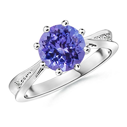 Tapered Shank Tanzanite Solitaire Ring with Diamonds in Silver (8mm Tanzanite)