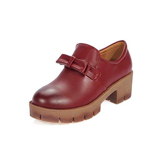 Allhqfashion Femmes Tirer Sur Les Orteils Fermés Bout Rond Talon Pu Solides Pompes-chaussures Rouge
