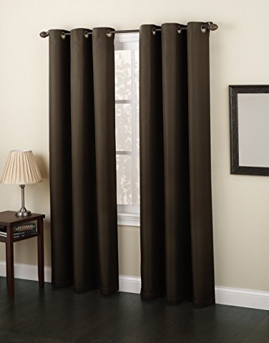 Gorgeous Home *DIFFERENT SOLID COLORS & SIZES* (#86) 1 PANEL SOLID FOAM LINED BLACKOUT JACQUARD WINDOW CURTAIN DRAPES BRONZE GROMMETS (BROWN, 84