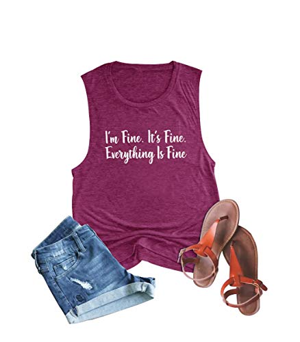 Anbech Its Fine Im Fine Everything is Fine Tank Tops Women Sleeveless Letter Print Saying Shirts Pink