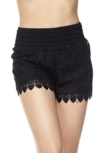 PALI USA Womens Lace Crochet Banded Shorts with Lining (Daisy Mix_Black, (Lace Woven Shorts)