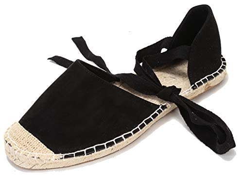 (U-lite Women's Suede Cap-Toe Tie-up Ankle Strap Espadrille Flat Sandals (8B, Black))