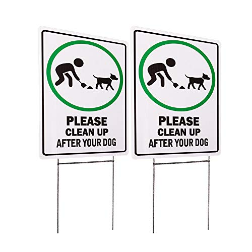 - WaaHome 2 Pack Double Side Please Clean Up After Your Dog Signs Metal Wire H-Stakes, 8''X12'' No Poop Dog Yard Sign