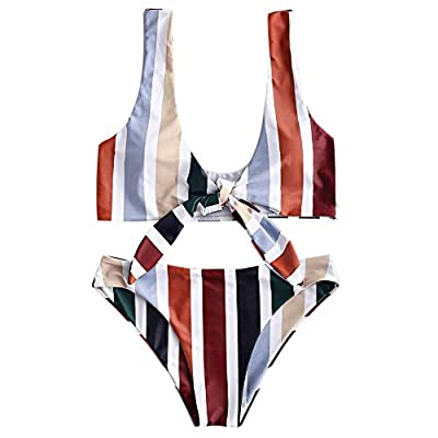ZAFUL Women's Spaghetti Strap Tie Knot Front Stripe Print Stripe Swimsuit Natural Waist Solid Two-Piece Bikini Sets