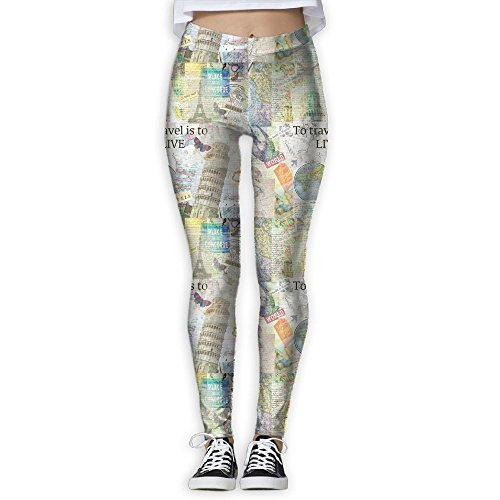 SNM HILL World Travel Women's Printed Yoga Leggings Sport Pants Stretchy Tights Elastic