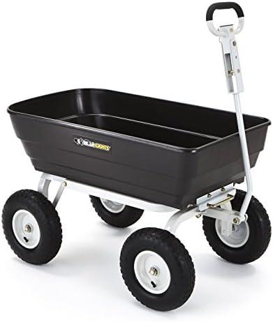 Gorilla Carts Poly Garden Dump Cart with 2-in-1 Convertible Handle, 1000-lbs. Capacity, Black