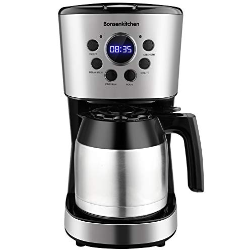Programmable Coffee Maker 10 Cup, Compact Coffee Machine With 50oz Thermal Carafe Coffee Pot, Brew Strength Control, Mid…