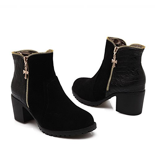 AmoonyFashion Womens Soft Material Round Closed Toe Kitten Heels Zipper Solid Boots Black KwNWIJJk