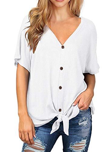 I2CRAZY Summer Tops for Women Oversized Workout T Shirt Short Sleeve V Neck Blouse Button Down Plain Shirts - XL, ()