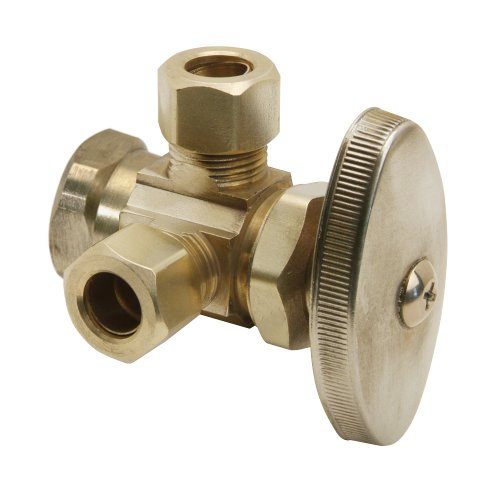 Brasscraft R3701R R1 1/2-Inch FIP by 1/2-Inch O.D. Comp by 3/8-Inch O.D. Comp Right Dual Outlet Stop, Rough Brass
