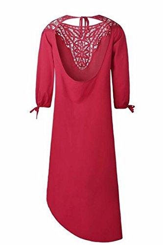 Fente Latérale Coolred Femmes Mode Sans Dossier Solide Robe De Soirée Longue Vin Rouge