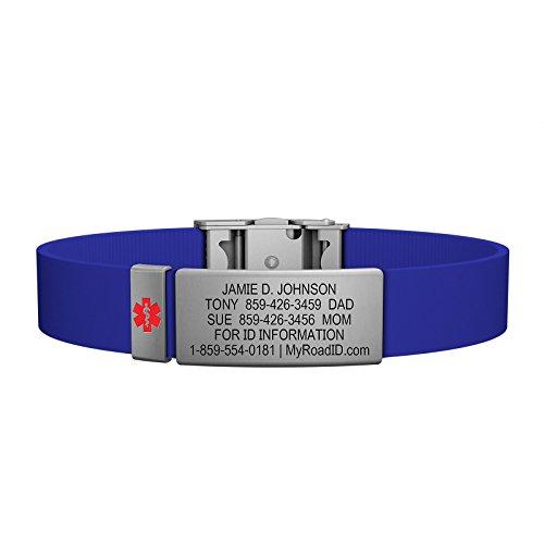 Road ID Medical Alert Bracelet - the Wrist ID Elite and Medical Alert Badge - Stainless Classic - Personalized Medical ID Bracelet and Child ID - Fits Adults & Kids (Blue) (Med Id Bracelet)