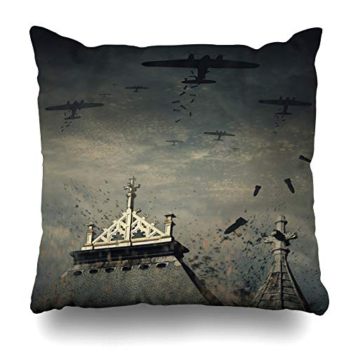 (Ahawoso Throw Pillow Cover Fighter Plane World War German Bombers WWII Flight Vintage London Germany Airplane Britain Battle Decorative Cushion Case Square 20