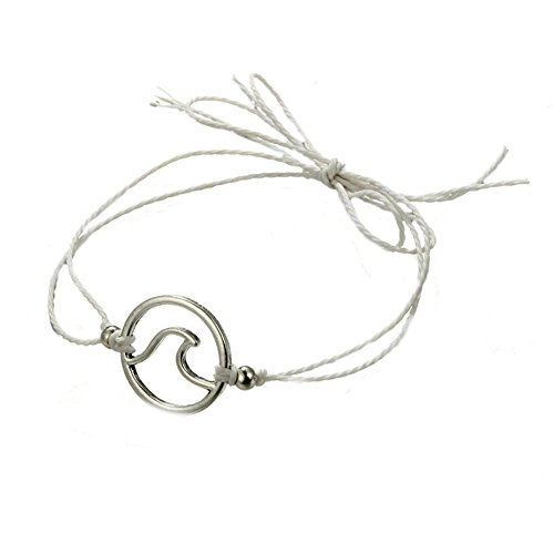 CHoppyWAVE Anklet Waxed Rope Sea Wave Barefoot Beach Anklet Fashion Women Girls Date Bracelet - White (White Bangles Jade Gold)