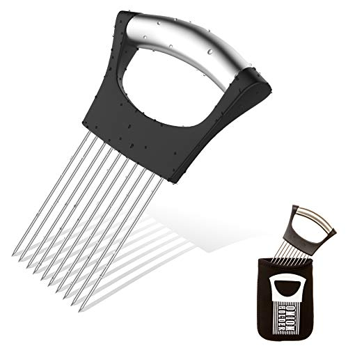 Noosa Life | Onion Holder For Slicing | STORAGE POUCH INCLUDED | Vegetable Potato Cutter Slicer | FULL GRIP HANDLE | Odor Eliminator | Stainless Steel Cutting Kitchen Gadget | Onion Peeler ()