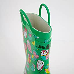 Lone Cone Children's Waterproof Rubber Rain Boots in Fun Patterns with Easy-On Handles Simple For Kids (Hoot-y Boots, 6 M US Toddler)