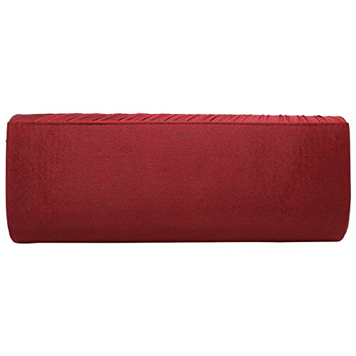 Clutch Bag Wedding Cckuu Purse Party Satin Burgundy Handbag Shoulder Evening Black Crystal Hand nvwZSCqFw0