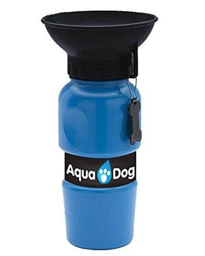 Aqua Dog Blue Portable No Spill 18 Oz Dog Water Bottle by BulbHead – As Seen on TV – On the Go Dog Water Bowl Keeps Dogs of all Sizes Hydrated – Great for Walks, Dog Park, Beach, Road Trips, and More - Water Bottle Dogs