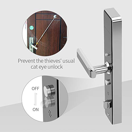 PINEWORLD Q303Plus Advance Fingerprint Smart Door Lock, Intelligent Touchscreen Door Knob with National Biometric Module+RFID Card and Mechanical Key for Home Security, Handle Direction Reversible by PINEWORLD (Image #3)