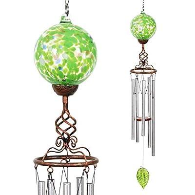 "Exhart Finial Wind Chimes, Green Windchimes w/Solar Green Glass Ball - Glass Globe Wind Chimes w/Solar-Powered Lights & Bronze Metal Design - Hand-Blown Glass Orb, Tuned Windchimes, 5"" W x 32"" L"