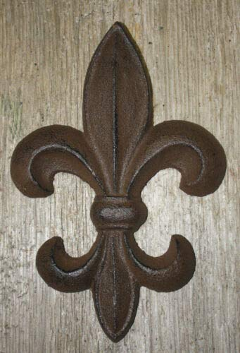 JumpingLight Cast Iron Antique Style Rustic Fleur De Lis Wall Decor Boy Scouts 7'', Saints Cast Iron Decor for Vintage Industrial Home Accessory Decorative Gift