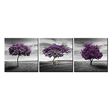 Canvas Print Wall Art Painting For Home Decor Green Lawn Landscape Meadow Purple Tree On Green Field With Wood Park Bench In Black And White Vintage Style 3 Pieces Panel Paintings Modern Giclee Stretched And Framed Artwork The Picture For Living Room Decoration Botanical Pictures Photo Prints On Canvas