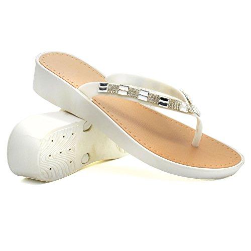 London Footwear - talón abierto mujer blanco