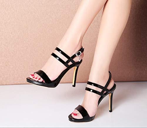 Sandali Liangxie Heels Shoes Selvaggia Fibbia Alti Bocca A Coreana Con Fatti Ultimate Pesce High Tacchi Versione Fashion Impermeabile Moda Lady Peep Mano Nero Della Elegante Piattaforma YrE0r