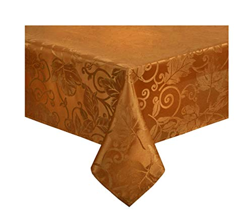Nantucket Fall Tablecloth Leaves and Scrolls for Kitchen and Dining Table, Harvest Damask Solid Colors for Autumn and Thanksgiving Stain Resistant, Liquid Spills Bead up (Bronze, 70 Round) (Kitchen Nantucket Table)