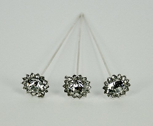 24 Bouquet Pins Corsage Wedding FLORAL BURST Design Crystal Rhinestone -
