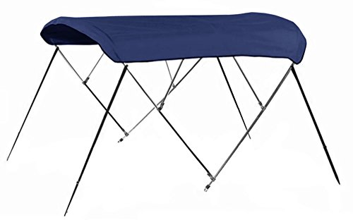 Bimini Top Boat Cover 54'' H X 91''-96'' W 4 Bow 8 Foot Long Solution Dye Navy Blue by 4 Seasons