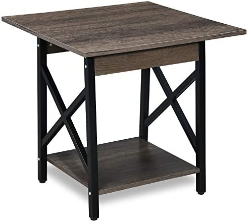 GreenForest End Table 24 Industrial Design Side Table with Storage Shelf for Living Room, Easy Assembly, Dark Walnut